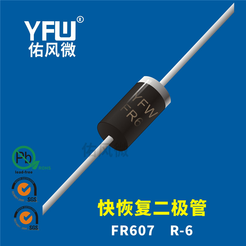 FR607 R-6插件快恢复二极管印字FR607 佑风微品牌